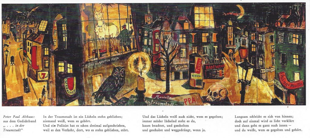 Schwabing bei Nacht - Marietta in der Traumstadt. Nach einem Wandbild von Hermann Geiseler. Repro Studio Roucka