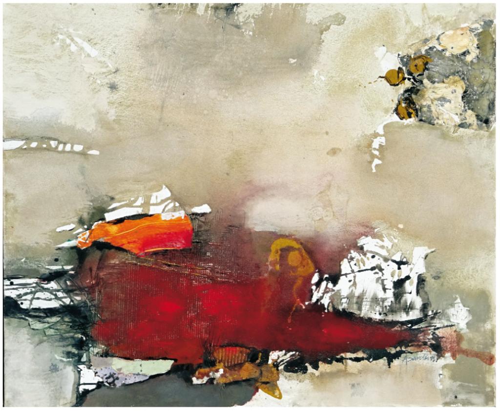"""""""O.T."""", 2015, 100 x 120 cm, Collage und Malerei auf Leinwand"""