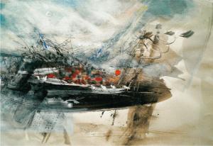 """""""Grenzenlos"""", 2017, 34 x 50 cm, Mischtechnik"""