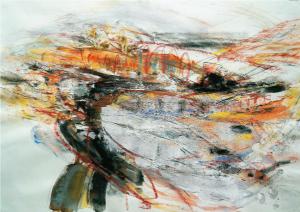 """""""Landschaft (377)"""", 2003, 50 x 70 cm, Mischtechnik"""