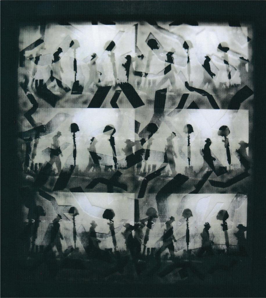 """""""Siegerehrung""""(aus der Serie nie wieder Krieg), 2003, 95 x 85 cm, Fotocollage, Glas, Camouflage, Bearbeitung"""