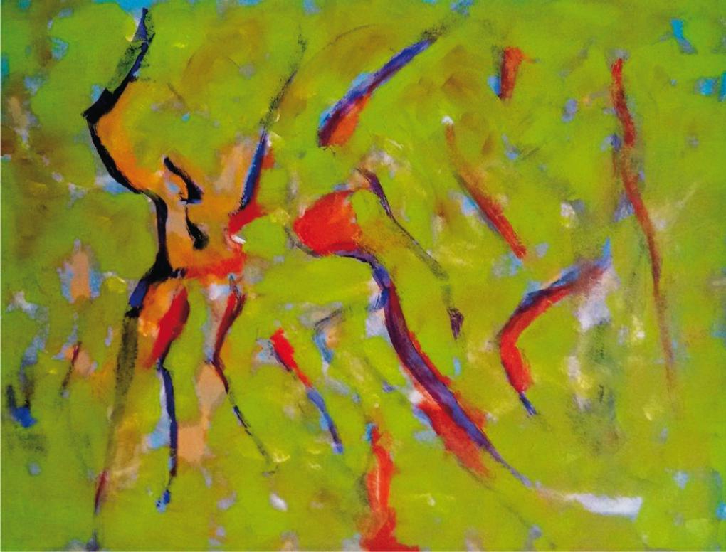 """""""Wiesentänzer"""", 2012, 42 x 56 cm, Öl"""