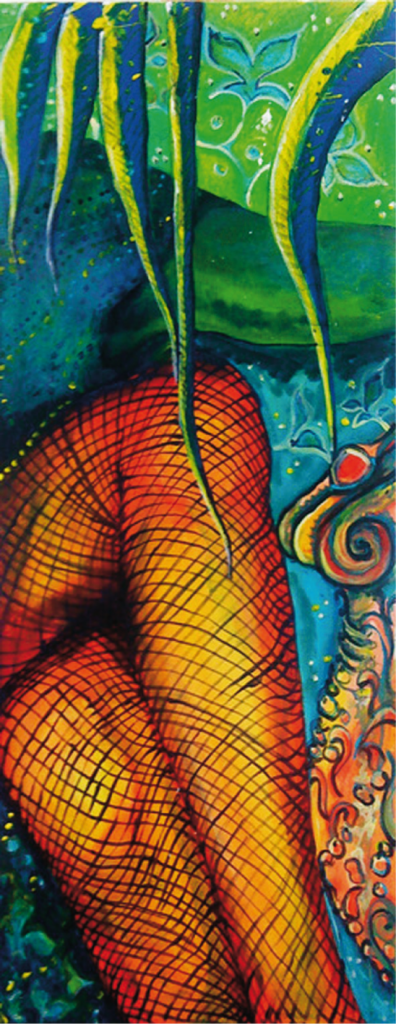 """Fishnet 1"", 96 x 38 cm, Acryl auf Leinwand"