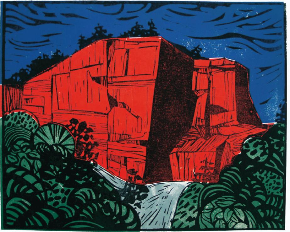 """""""Steinbruch rot"""", 60 x 80 cm, Farblinolschnitt"""