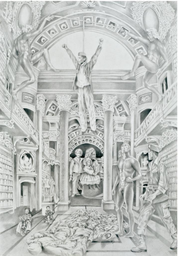 """""""Das grüßende Murmeltier"""", 2009, 100 x 70 cm, Serie Graphiti/ Bleistiftzeichnung auf Papier"""