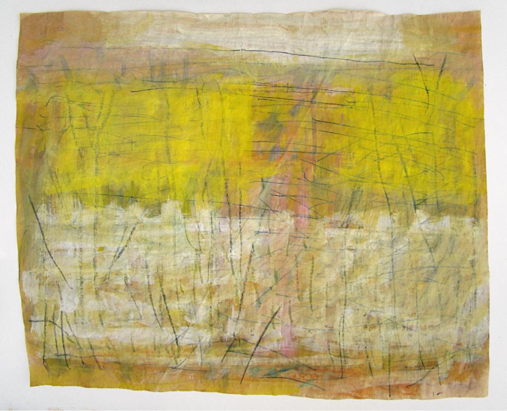 """""""Recycling (1)"""", 2017, 50 x 60 cm, Stifte und Wasserfarben auf Papiertüte"""
