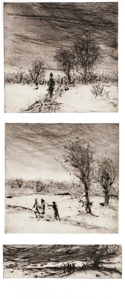 """""""Flucht"""", 1985, 60 x 45 cm Radierung / Collage"""